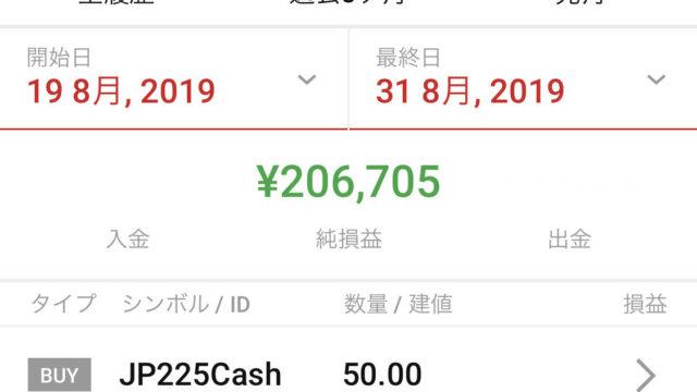 10万円チャレンジ 8月結果報告